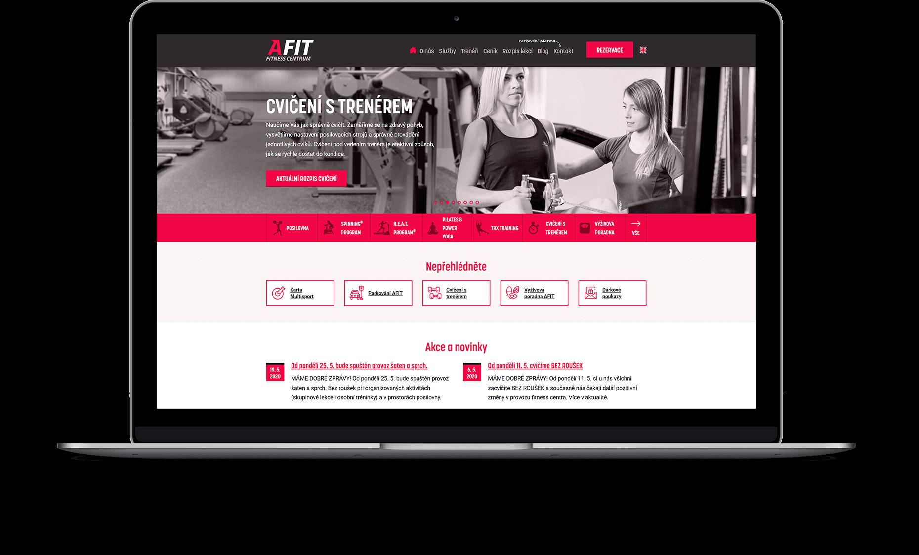 Webové stránky AFIT fitness centrum